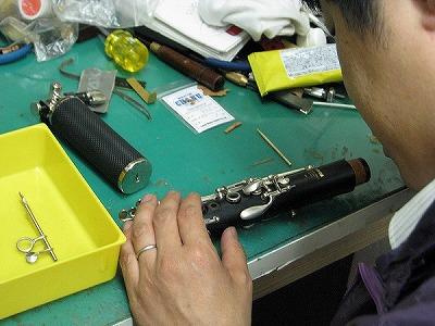 クラリネットの修理中(リペア,調整) 2009.5/3 4